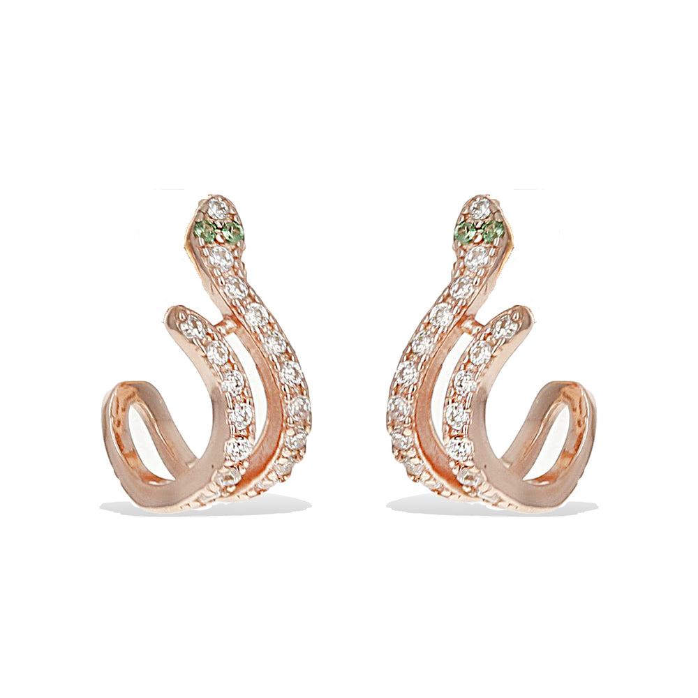 Alexandra Marks | Rose gold Green Eyed Snake Huggie Hoop Earrings