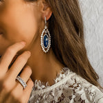 Bride wearing her something blue, Alexandra Marks Blue Lapis Drop Earrings