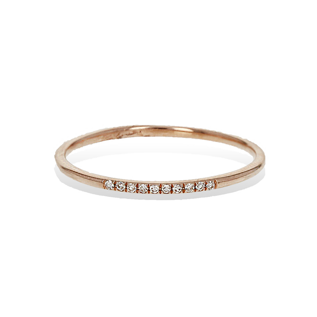 Thin Diamond & Rose Gold Ring