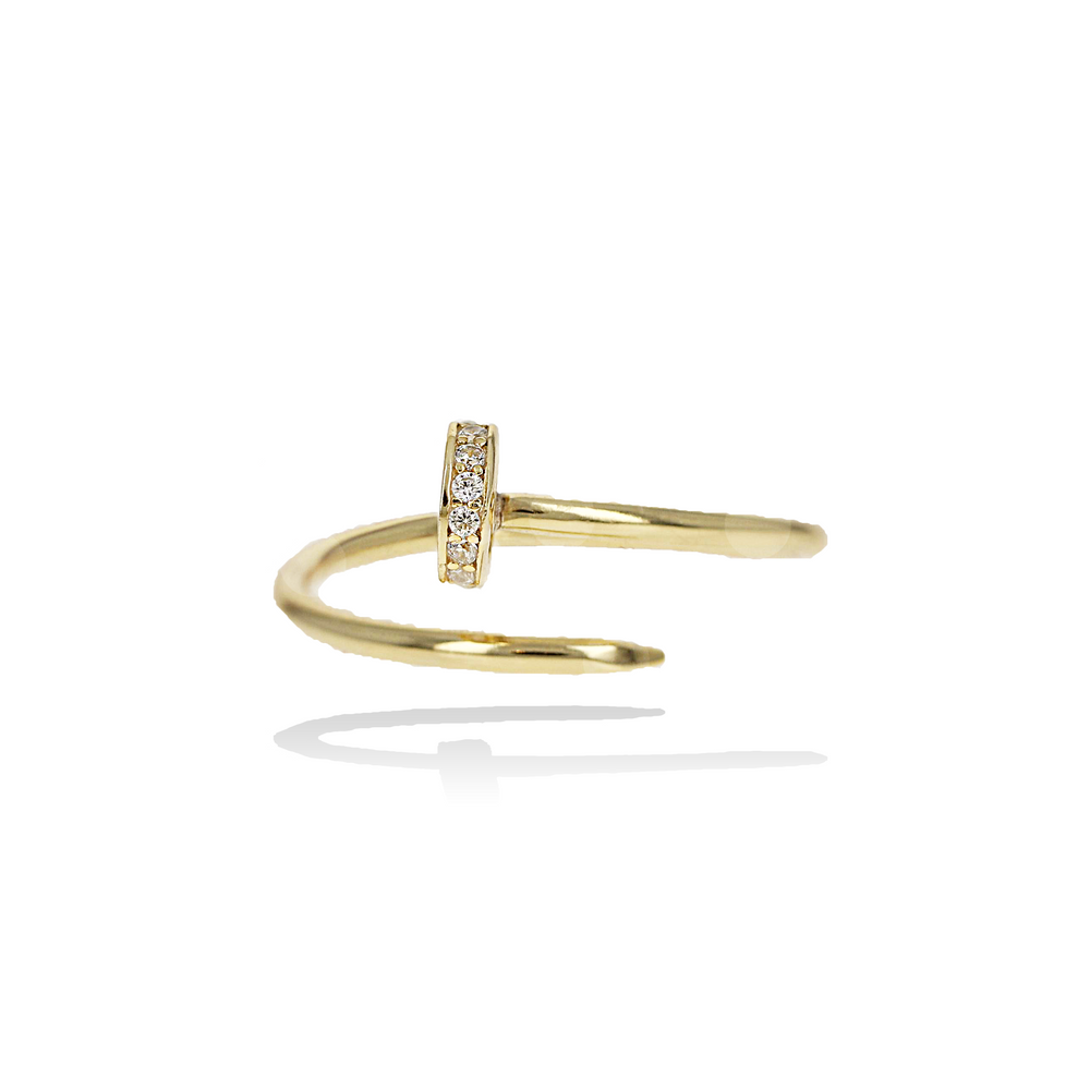 Gold Thin Wrapped Nail Ring - Alexandra Marks Jewelry