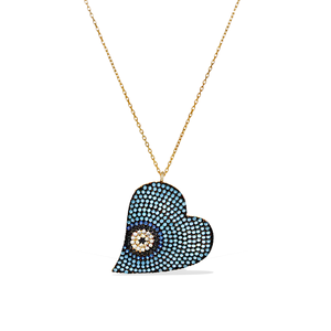 Large Blue Evil Eye Cz Heart Necklace in 18k Gold Plated Sterling Silver