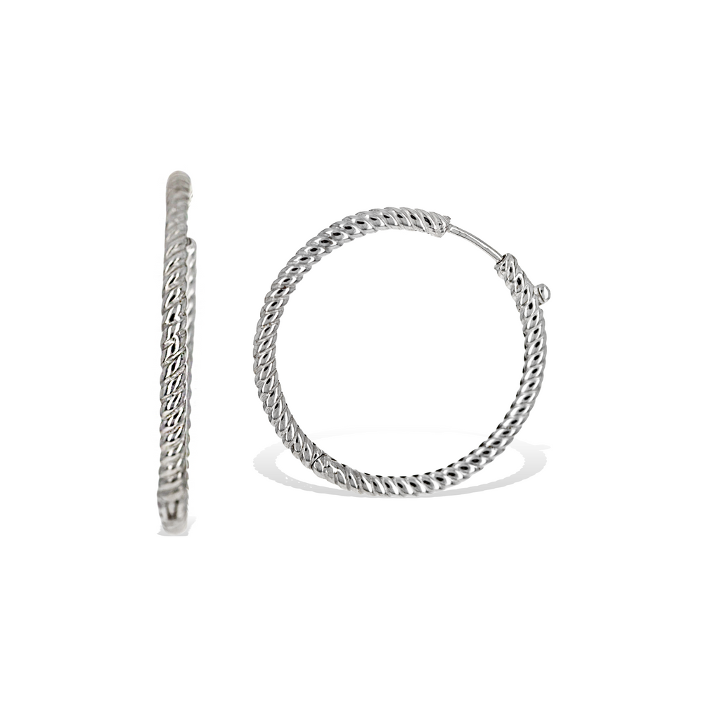 Sterling Silver 30mm Twist Hoop Earrings - Alexandra Marks Jewelry