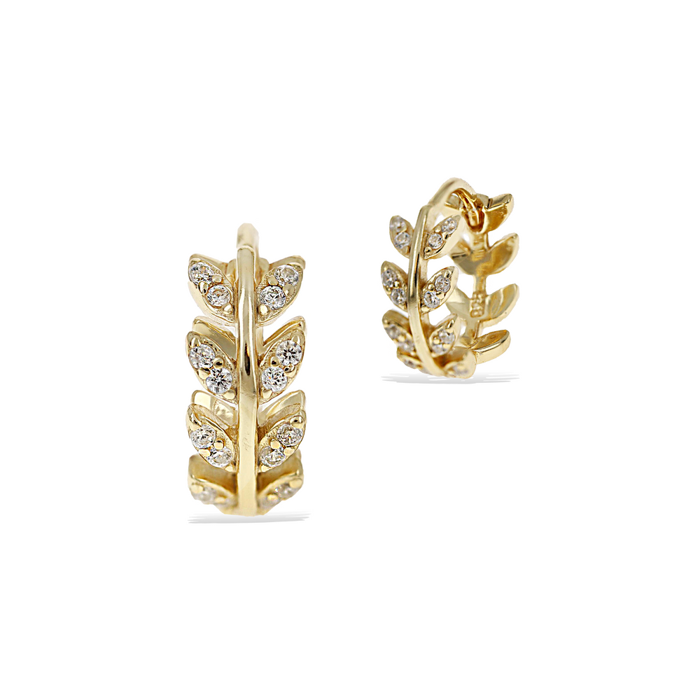 Load image into Gallery viewer, Alexandra Marks - Small gold vine cz huggie hoop earrings