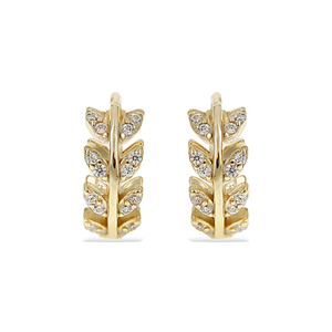 small gold cz vine huggie hoop earrings - Alexandra marks