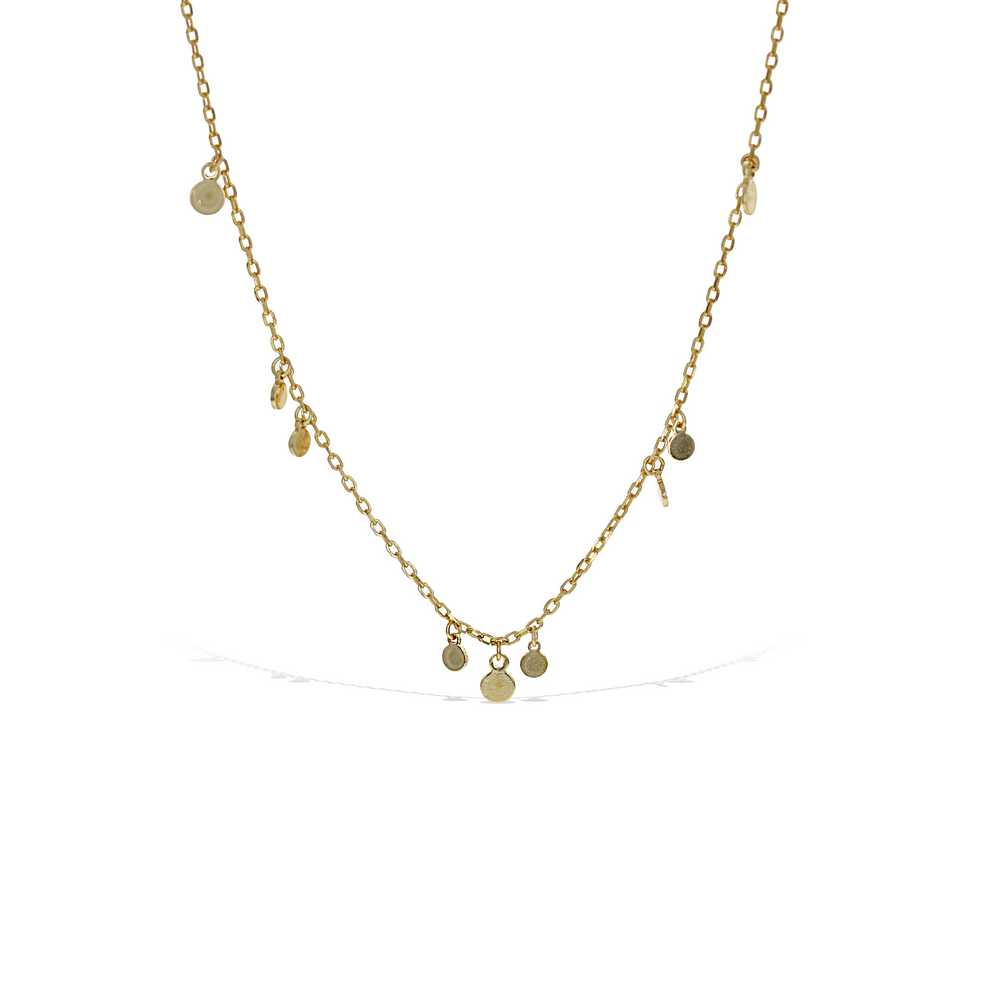 Alexandra Marks | Delicate Tiny Disc Charm Choker Necklace in Gold