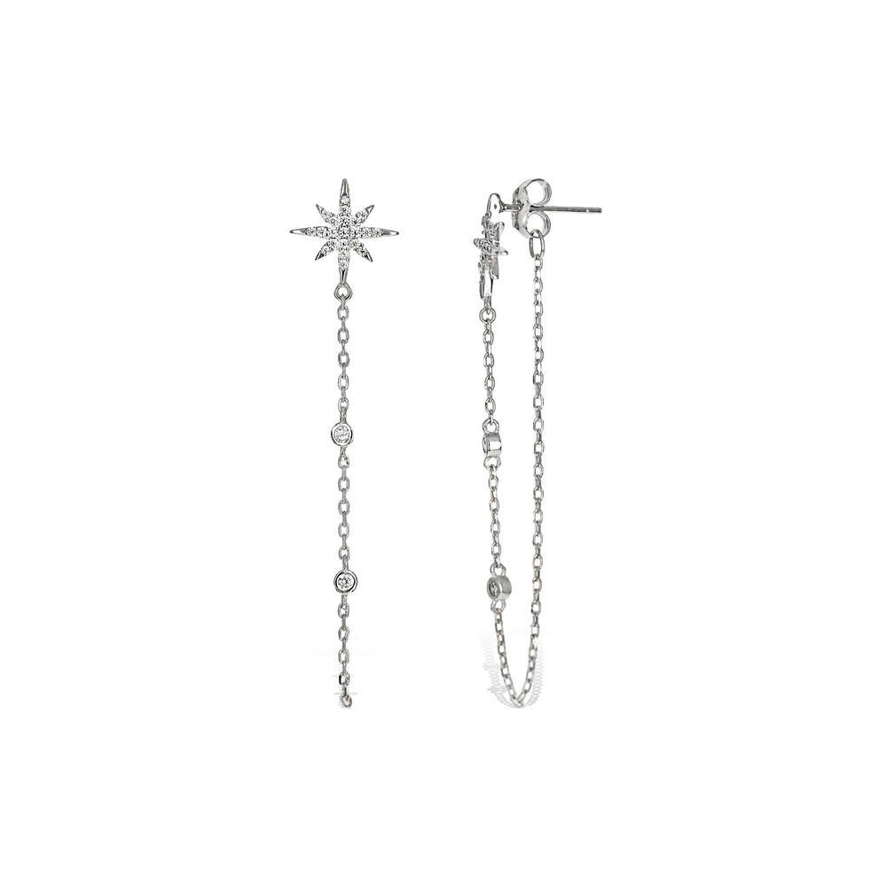 Alexandra Marks | Star Chain CZ Drop Earrings in Sterling Silver