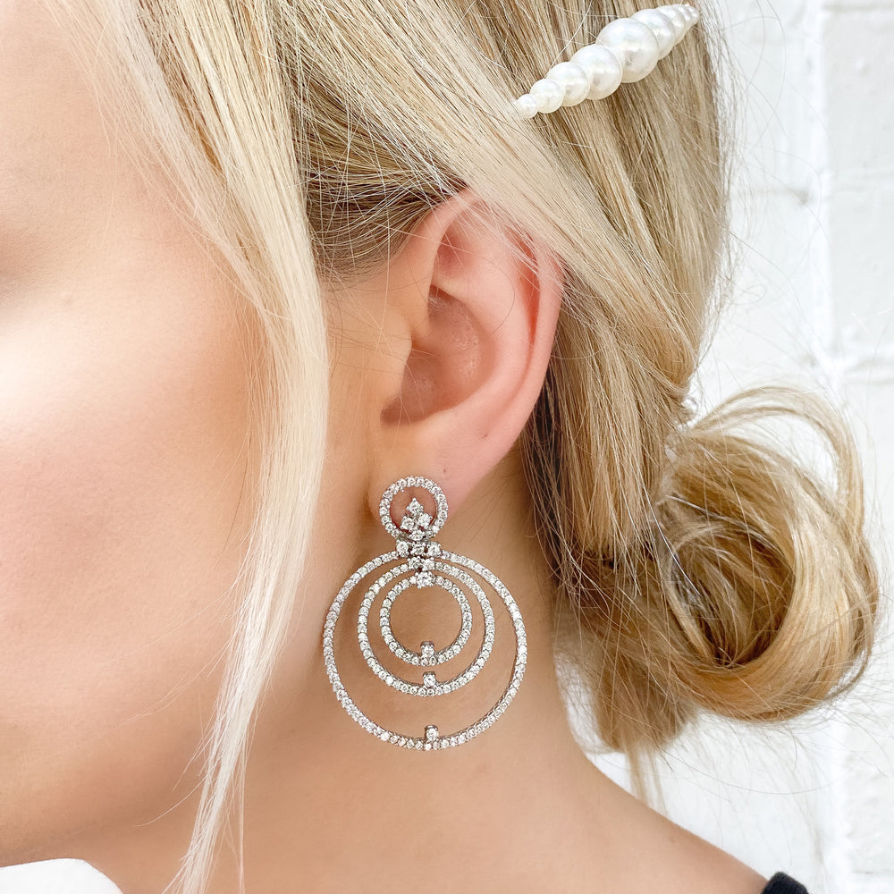 Wearing the cz open circle statement earrings from Alexandra Marks Jewelry