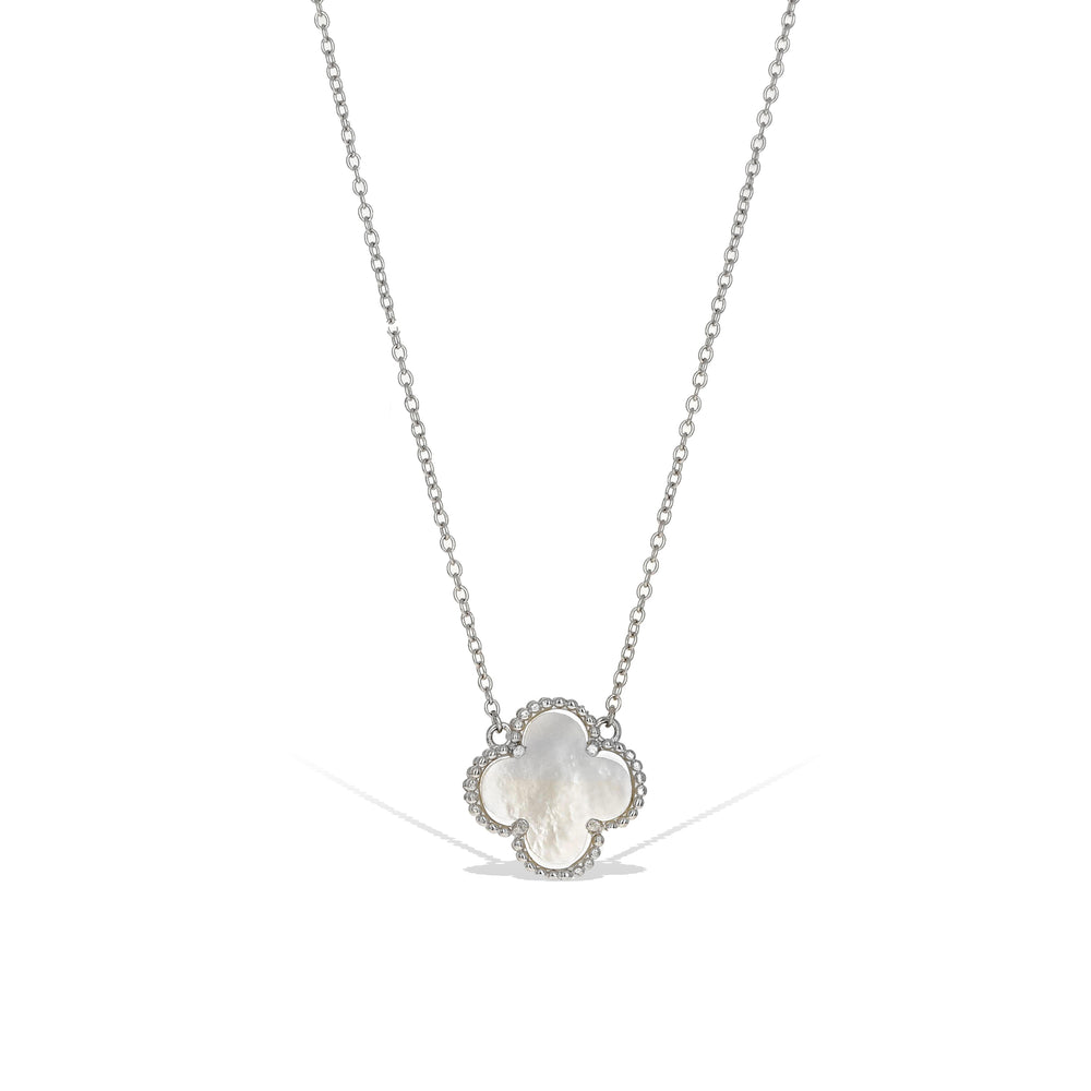 White Mother Of Pearl Clover Necklace in Sterling Silver