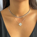 Wearing the silver cz bezel set tennis necklace from Alexandra Marks Jewelry