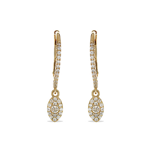 Gold Marquise Cz Charm Earrings