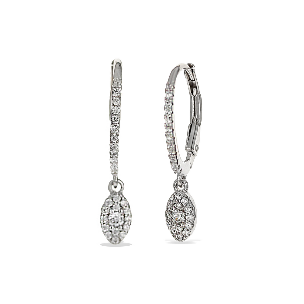 Load image into Gallery viewer, Alexandra Marks | Marquise Shaped CZ Charm Drop Earrings in Sterling Silver