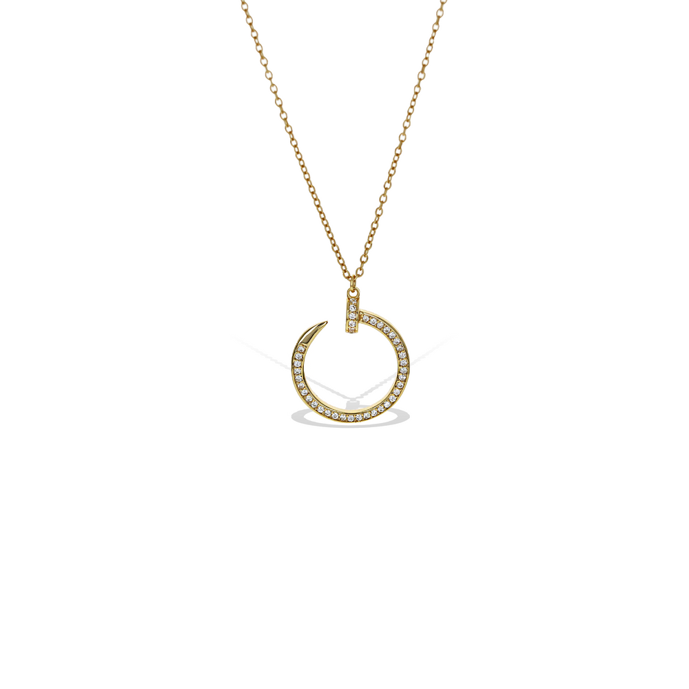 "Gold Circular CZ Nail Pedant Necklace, 18"" - Alexandra Marks Jewelry"