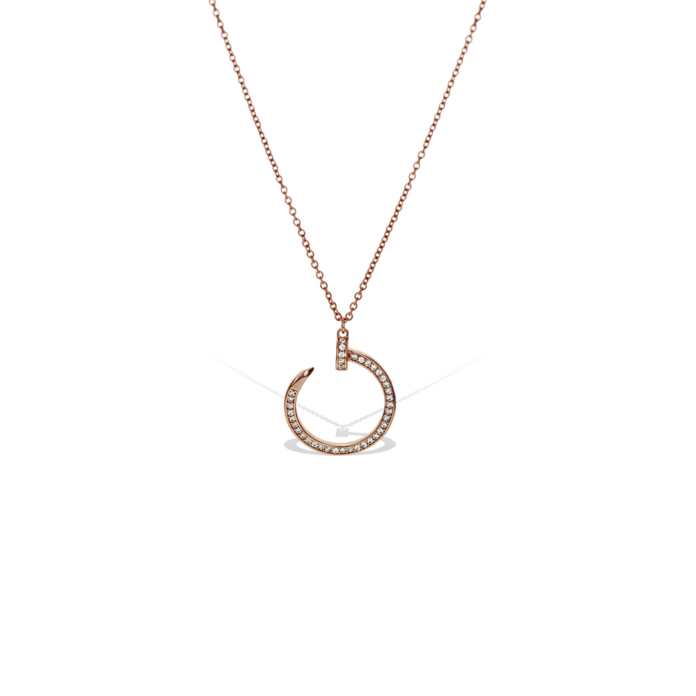 Nail Love Cz Pendant Necklace in Rose Gold