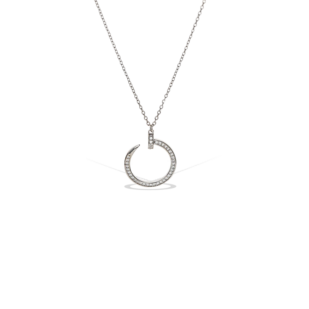Pave' Set CZ Curved Nail Necklace in Sterling Silver | Alexandra Marks Jewelry