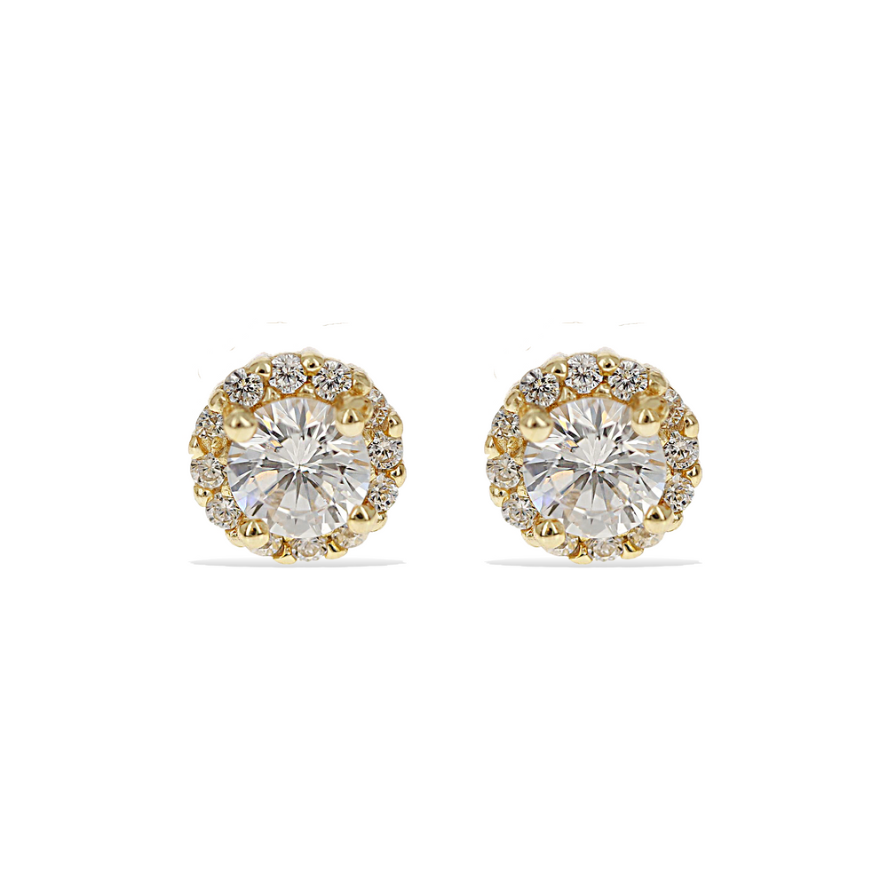 Alexandra Marks | 6mm Round Cz Halo Stud Earring in Gold