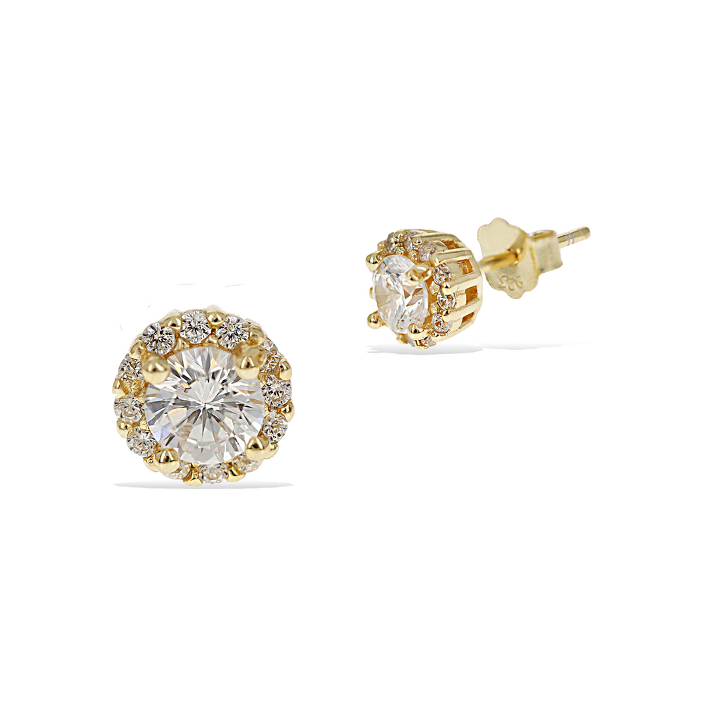 Round Cz Halo Gold Stud Earrings, 6mm - Alexandra Marks