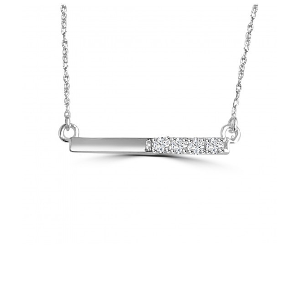 Alexandra Marks | Half Diamond Small Bar Necklace in 14kt White Gold
