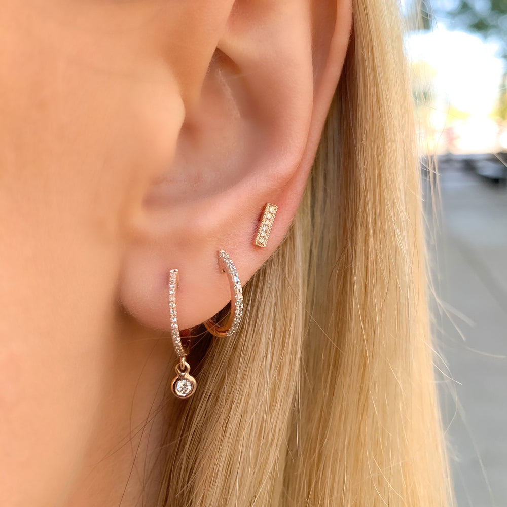 Stacking our Diamond Bar Studs in Rose Gold - Alexandra Marks Jewelry