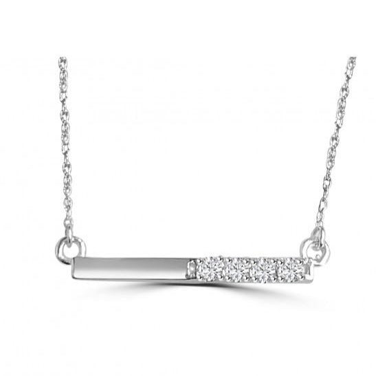 Half Diamond Bar Necklace in 14kt White Gold - Alexandra marks Jewelry