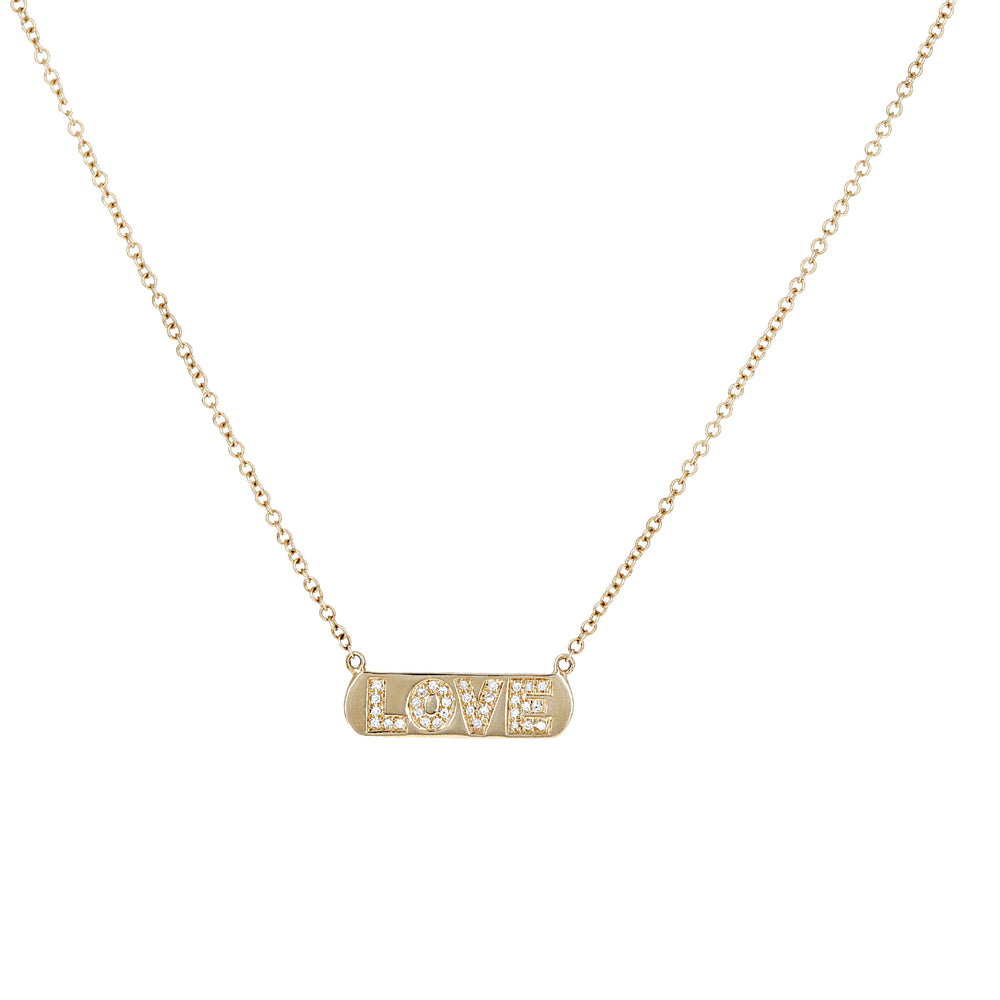 Alexandra Marks - Diamond LOVE Personalized Bar Necklace in 14kt Gold