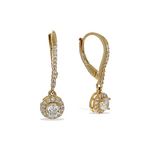 Alexandra Marks | CZ Halo Charm Drop Earrings in Gold Plated Sterling Silver