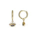 Evil Eye Charm Huggie Hoop Earrings in Gold - Alexandra Marks Jewelry