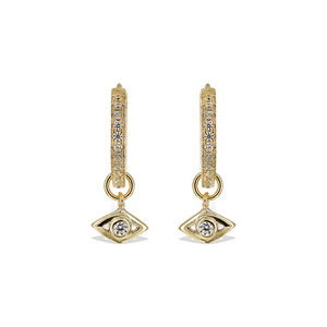 Gilded Gold Removeable Evil Eye Charm Huggie Hoop Earrings - Alexandra Marks Jewelry