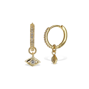 Alexandra Marks | Gold Evil Eye Charm Huggie Hoop Earrings