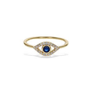 Load image into Gallery viewer, Alexandra Marks - Evil Eye Blue Sapphire Cz Gold Ring
