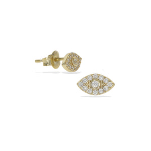 Load image into Gallery viewer, Gold cz small evil eye stud earrings - Alexandra Marks