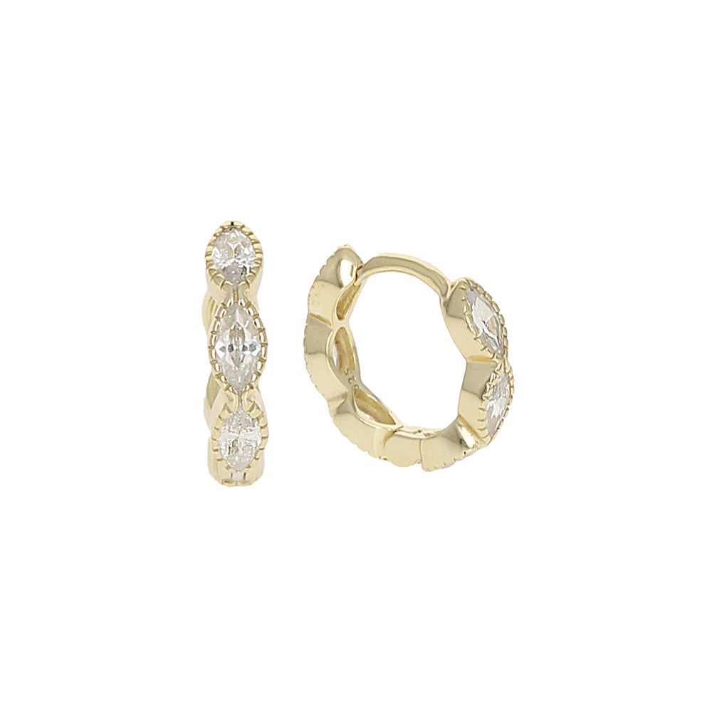 Alexandra Marks - Marquise Shaped Cz Huggie Hoop Earrings in Gold