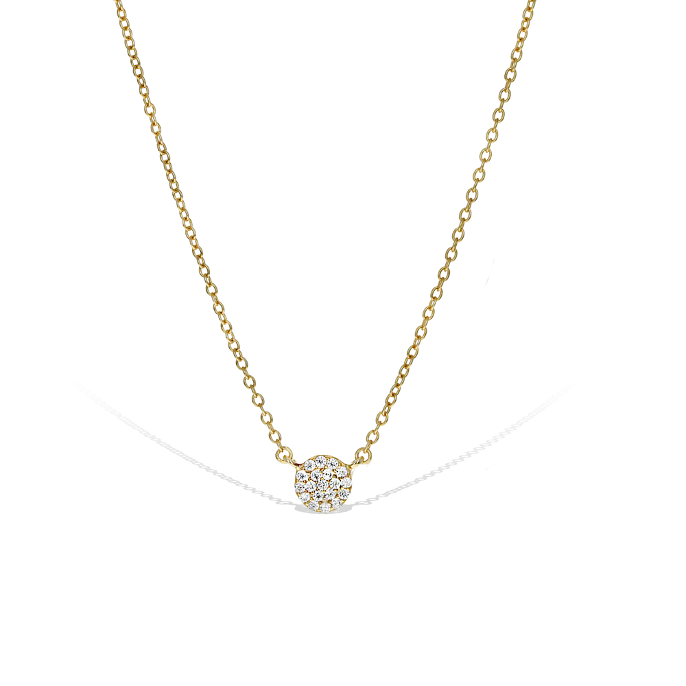 Alexandra Marks | Miniature Pave' CZ Disc Necklace in Gold