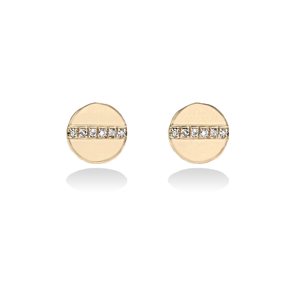Alexandra Marks Jewelry | Gold Disc Stud Earrings with Pave' Diamond Bar in 14kt Yellow Gold