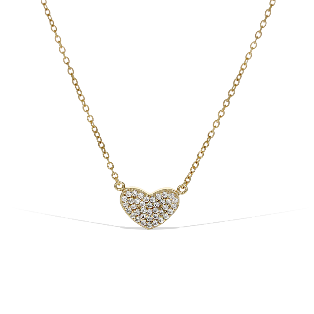Alexandra Marks - Small Pave' Cz Gold Heart Necklace