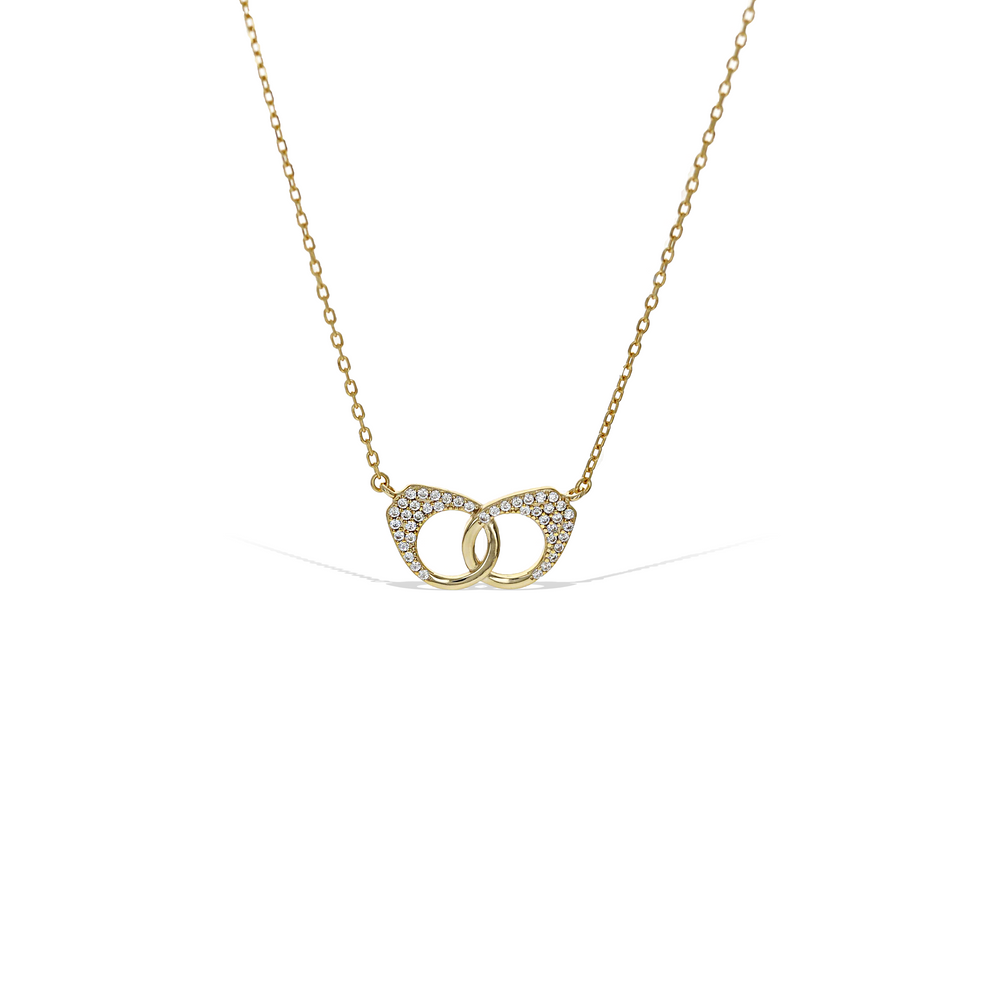 Handcuff Love Necklace With Pave' CZ Stones in Gold Plated Silver - Alexandra Marks Jewelry