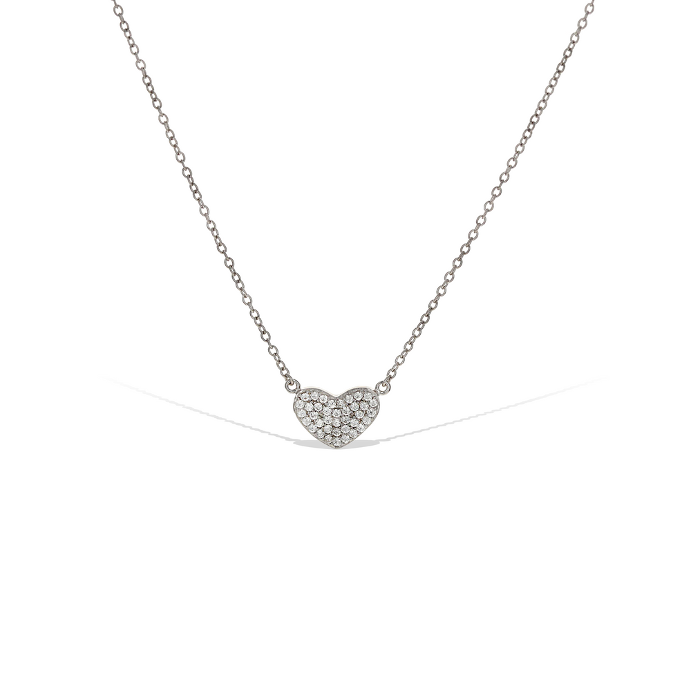 Sweet Heart Cz & Sterling Silver Necklace
