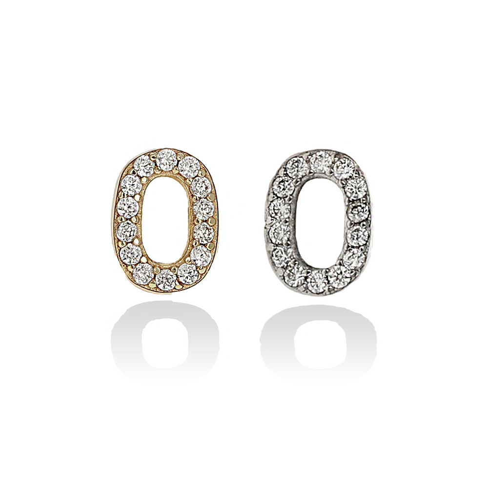 Letter O Initial Stud Earrings in Gold & Silver from Alexandra Marks Jewelry