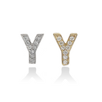 Mini Individual Initial Stud Earrings in Silver & Gold | Alexandra Marks Jewelry