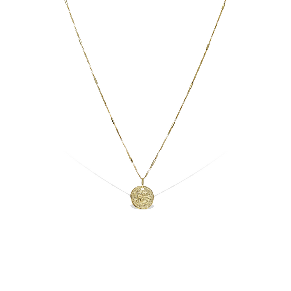 Long Roman Coin Pendant Necklace in Gold Plated Sterling Silver | Alexandra Marks Jewelry