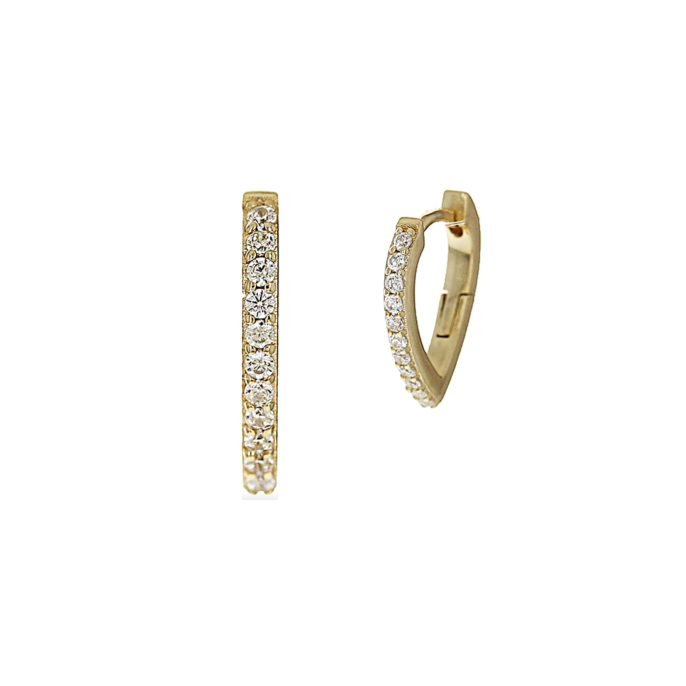 Alexandra Marks Jewelry | Small Pave' Cz Huggie Hoop Earrings in Gold