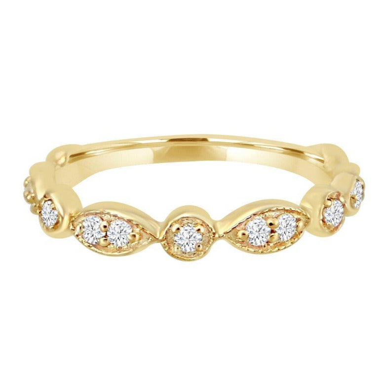 Diamond Dot & Marquise Thin Gold Ring