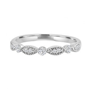 Alexandra Marks | Diamond Marquise Shaped Eternity Band in 14kt White Gold, sz 7