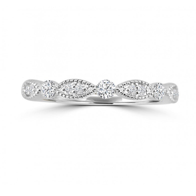 14kt White Gold & Diamond Marquise Shaped Eternity Band - Alexandra Marks Jewelry
