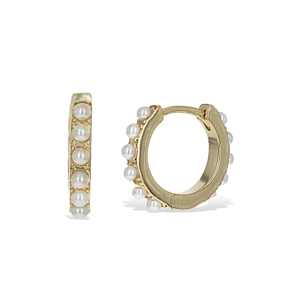 Alexandra Marks | Petite White Pearl Huggie Hoop Earrings in Gold