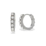 Small Sterling Silver Huggie Hoop Earrings With White Tiny Pearls - Alexandra Marks Jewelry