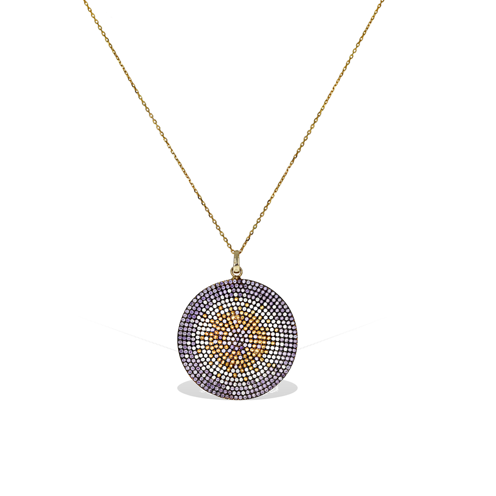 Alexandra Marks | Purple Ombre' Evil Eye Pendant Necklace in Gold