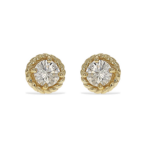 Classic round brilliant cz stud earrings in gold plated sterling silver | Alexandra marks jewelry