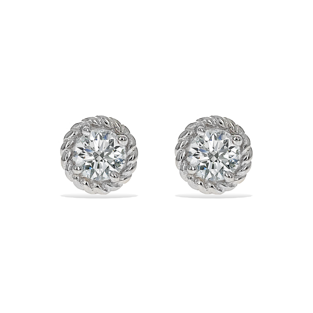Round Cz Stud Earrings with Twisted Silver Halo