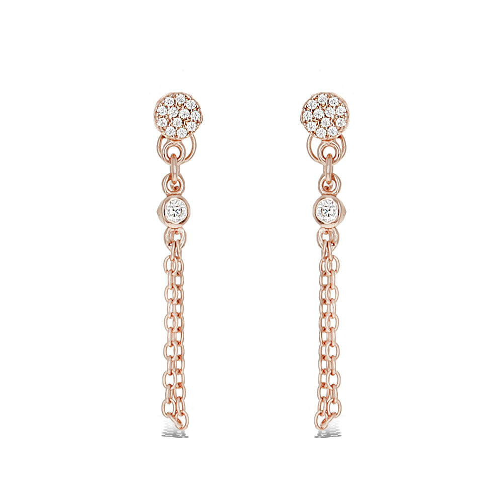 Gleaming rose gold chain earrings