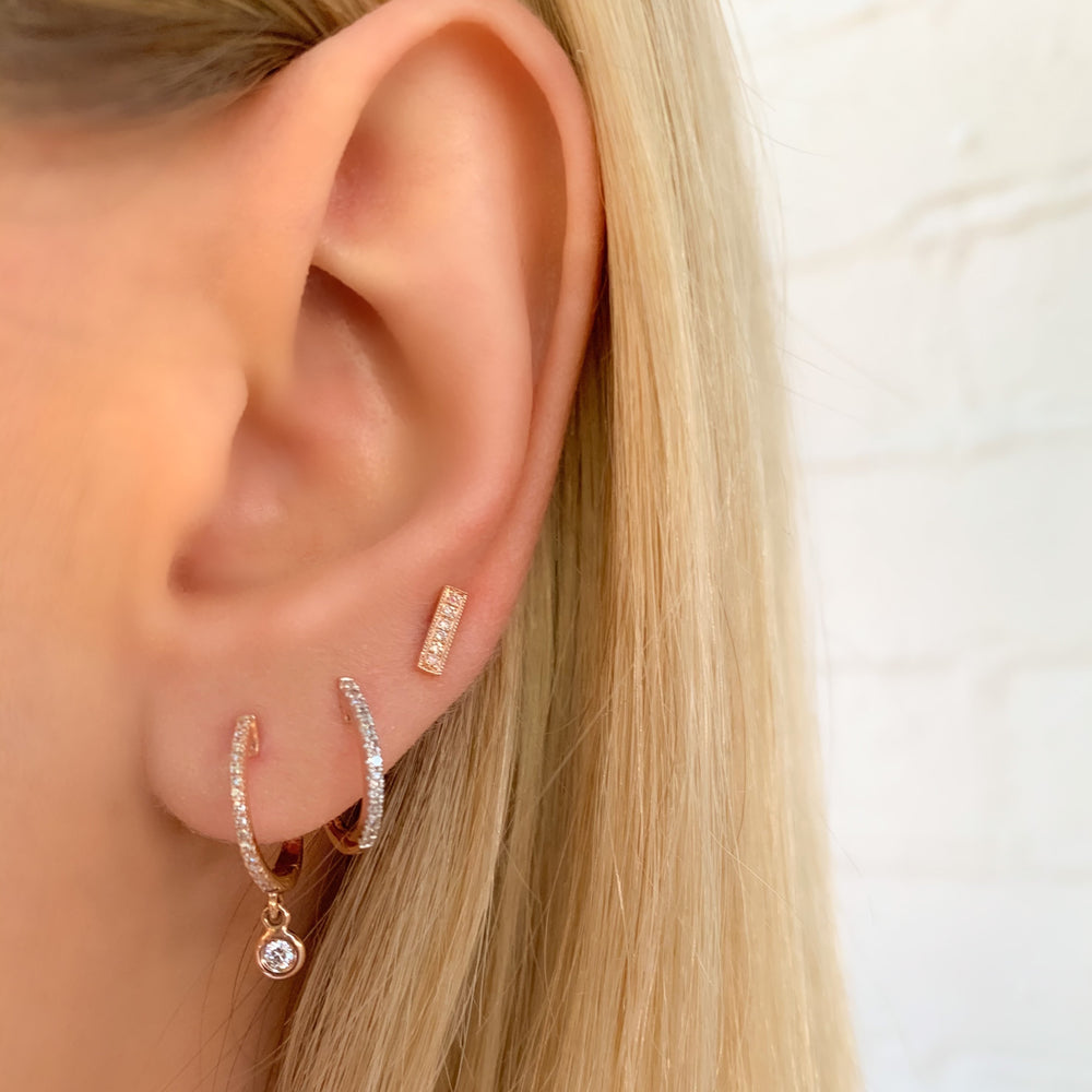 Dainty Diamond Rose Gold Huggie Hoops